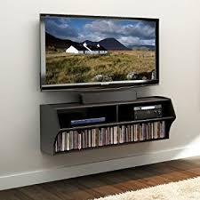 Wall Mounted Entertainment Shelves Amazon Com Black Altus Wall Mounted Audio Video Console Kitchen