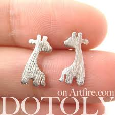 giraffe earrings giraffe silhouette shaped animal stud earrings allergy free dotoly