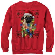 pug sweater lost gods s pug in lights sweatshirt