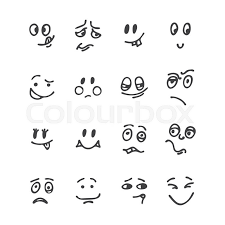 set of hand drawn funny faces happy faces sketched
