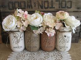 Mason Jar Floral Centerpieces Sale Set Of 4 Pint Mason Jars Ball Jars Painted Mason