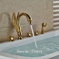 gold swan bathtub faucet swan neck gold finish waterfall bathtub