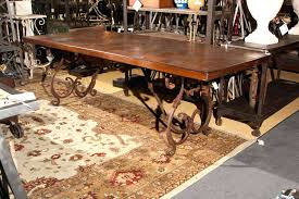 wood and wrought iron table iron and wood dining table kgmcharters com