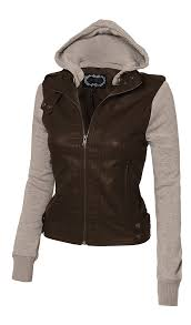 Women U0027s Zip Up Faux Leather Motorcycle Jacket With Inset Fleece