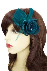 small fascinators for hair small teal flower feather hair clip brooch teal fascinators