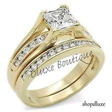 gold wedding rings sets 2 10 ct princess cut aaa cz 14k gold plated wedding ring set