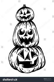 Halloween Pumpkins To Draw Handdrawn Three Halloween Pumpkins Hand Drawing Stock Vector