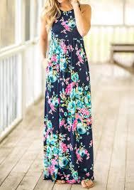 floral pocket sleeveless maxi dress bellelily