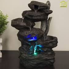 table top water fall indoor tabletop water fountain led lights waterfall decor polyresin