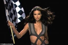 car commercial girl short blond hair adriana lima sets pulses racing in five hour long video for car