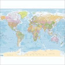educational blue world map wallpaper mural 315cm x 232cm