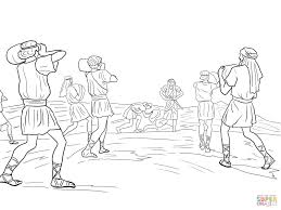 joshua soldiers putting 12 stones coloring page free printable