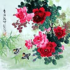 china with roses painting 2418001 69cm x 69cm 27 x 27