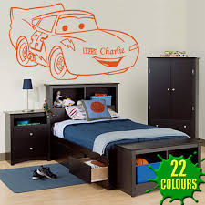 lightning mcqueen version 2 personalised with your name choice orange lightning mcqueen v2 decal above a child s bed