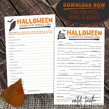 printable spooky halloween mad lib all ages haunted house story