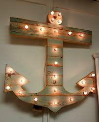 reclaimed wood anchor with lights
