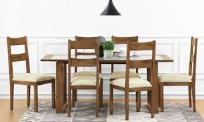 6 Seater Dining Table Design With Glass Top Buy Marlow 6 Seater Dining Table Glass Top Online In India