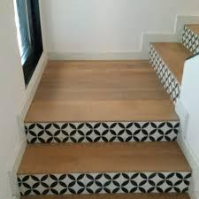 escalier peint en gris parquet et carreaux de ciment escaliers pinterest carrelage