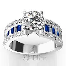 Sapphire Wedding Rings by Engagement Ring With Sapphire And Diamond Baguettes 1 25 Ct T W