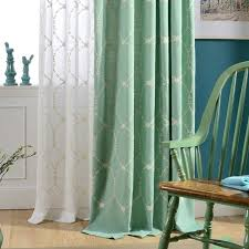 simple design new green embroidered green cotton curtain fabric