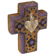 small wood crosses small painted wood mexican milagro crosses set of 2