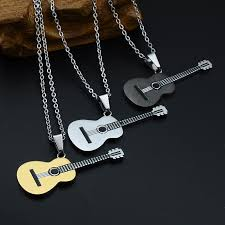 guitar necklace jewelry images Hip rock two tone gold color titanium stainless steel music guitar jpg
