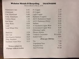 alum prices webster metals and recycling llc home