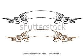 vintage ribbon sketch two vintage ribbon banners stock vector 593704166