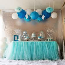 aqua blue tutu table skirt custom made wedding supplies sashes