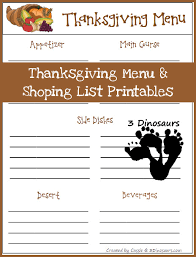 free thanksgiving menu and shopping list printable free