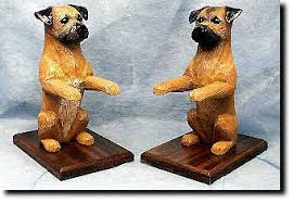 border terrier statues sculptures figurines bookends mantle clocks