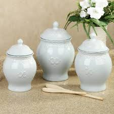 Kitchen Decorative Canisters by Furniture White Ceramic Annabel Kitchen Canister Sets With Caddy