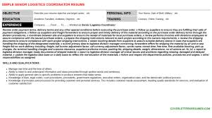 Sample Resume Logistics Coordinator by Senior Logistics Coordinator Cover Letter U0026 Resume