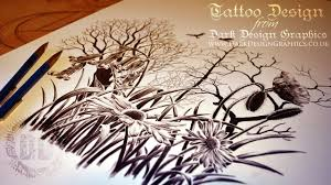 silhouette forest tattoo design speed drawing youtube