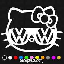 kitty volkswagen decal buy car decals choose size