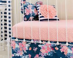 Coral Nursery Bedding Floral Crib Bedding Etsy