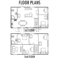 second floor plans architecture plan with furniture house and second floor