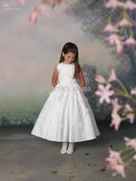 high quality sweet white flower dresses applique ruffle a
