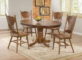 coaster oak finish oval dining table with single