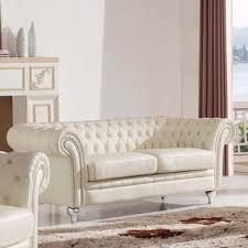 Diamond Tufted Sofa Elle Tufted Premium Cream Top Grain Leather Sofa And Loveseat