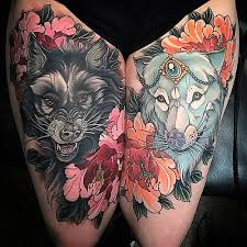 neotraditional wolf tattoos inspo wolf