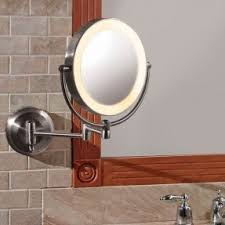 Dual Illuminated Vanity Mirrors Battery Operated Wall Mounted Lighted Makeup Mirror Foter