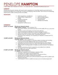 Good Resume Objective Examples Examples Of Warehouse Resumes Free Resume Example And Writing
