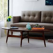 mid modern coffee table reeve mid century oval coffee table pecan west elm