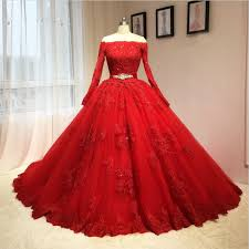 ball gown off shoulder long sleeves red lace wedding dress sanct
