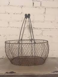 chicken wire basket egg caddy reproduction farmhouse farm fresh