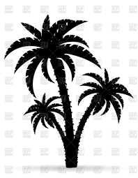 cartoon palm tree black outline silhouette vector clipart image