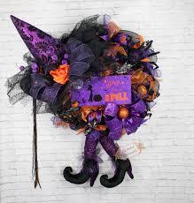 witch wreath purple orange witch wreath witch hat with legs