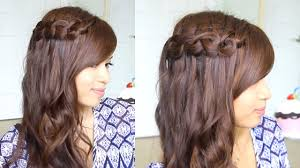 knotted loop waterfall braid hairstyle for short and long hair