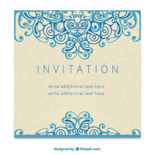 retro invitation in ornamental style vector free